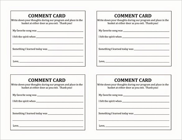 Restaurant Comment Card Template Free Luxury Ment Card Template