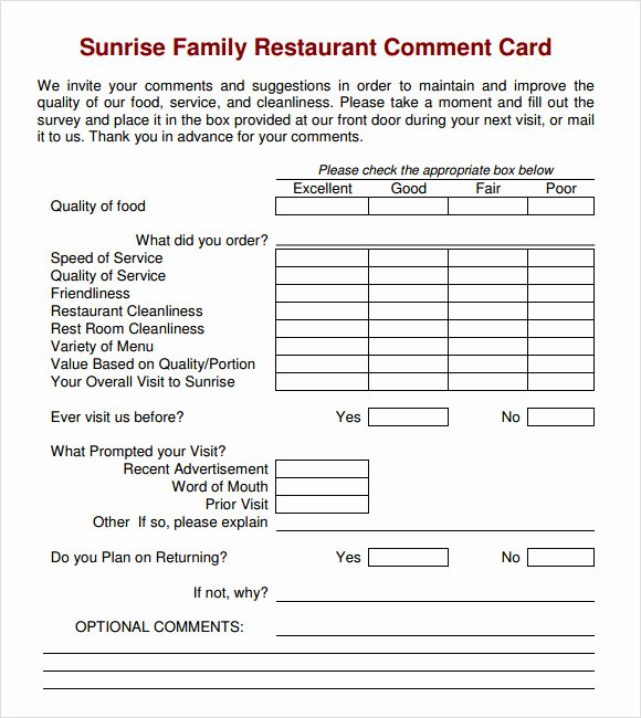 Restaurant Comment Card Template Free New 11 Ment Cards Pdf Word Adobe Portable Documents