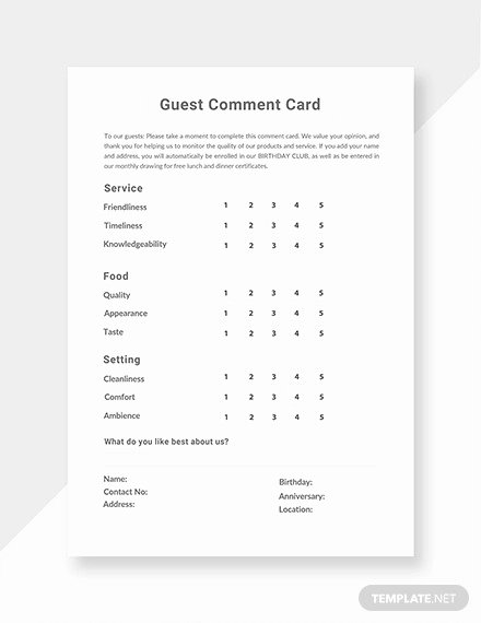Restaurant Comment Card Template Free New 19 Ment Card Templates Psd Ai Eps