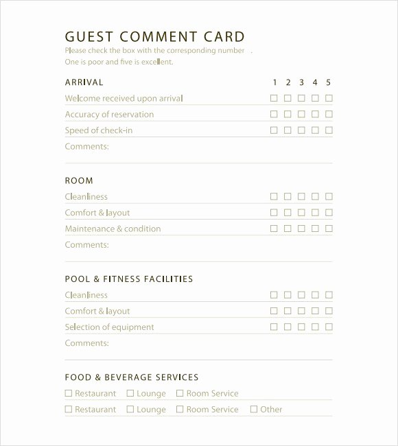 Restaurant Comment Card Template Free Unique 5 Restaurant Ment Card Templates Excel Xlts