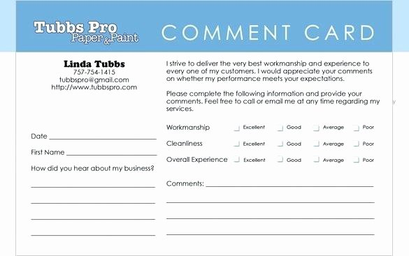 Restaurant Comment Card Template Fresh Ment Card Template Microsoft Word Customer Service