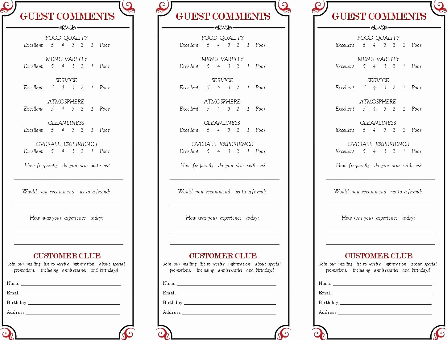 Restaurant Comment Card Template Inspirational Cancel Save