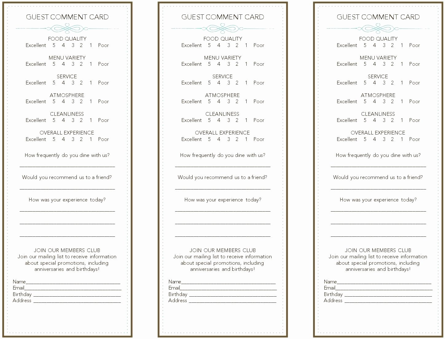 Restaurant Comment Card Template Inspirational French Restaurant Ment Card Frompo