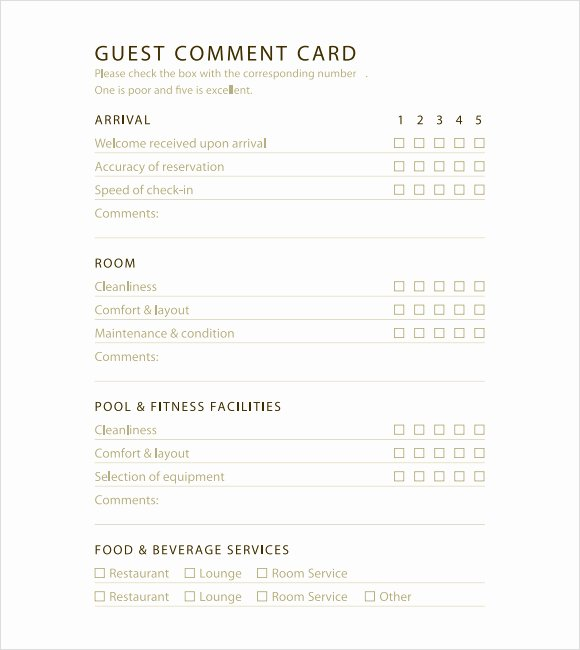 Restaurant Comment Card Template Luxury 5 Restaurant Ment Card Templates Excel Xlts