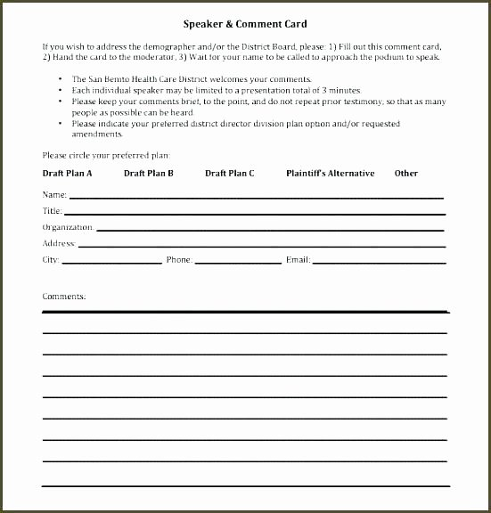 Restaurant Comment Card Template New Ment Card Template Microsoft Word Customer Service