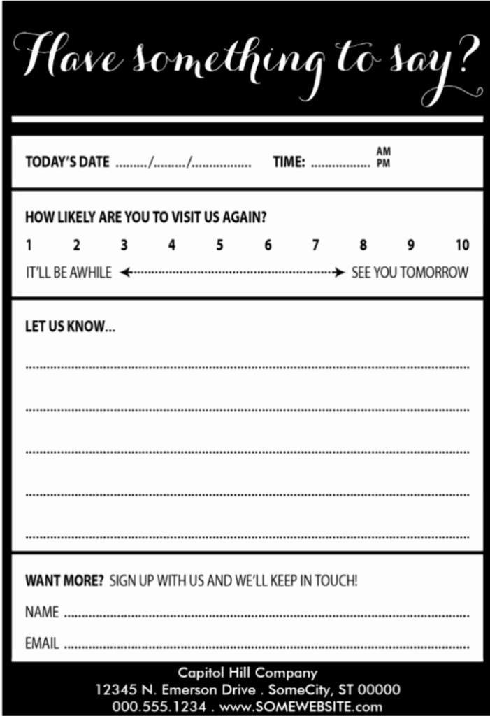 Restaurant Comment Card Template Unique 25 Examples Customer Ment Card Template for Restaurant