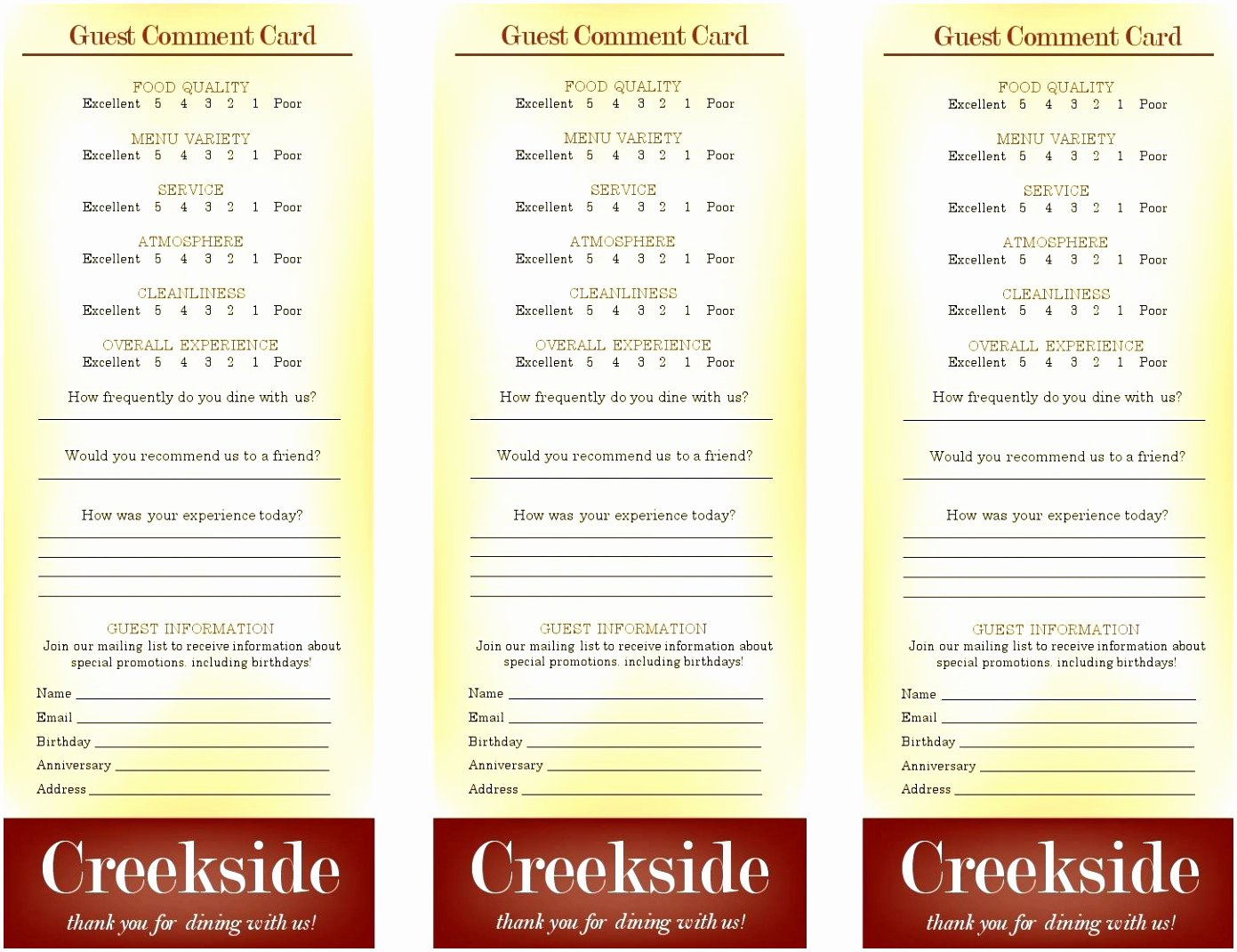Restaurant Comment Card Template Unique Restaurant Ment Cards Free Restaurant Ment Card