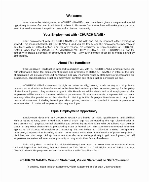 Restaurant Employee Handbook Template Awesome Employee Handbook Template 12 Free Sample Example