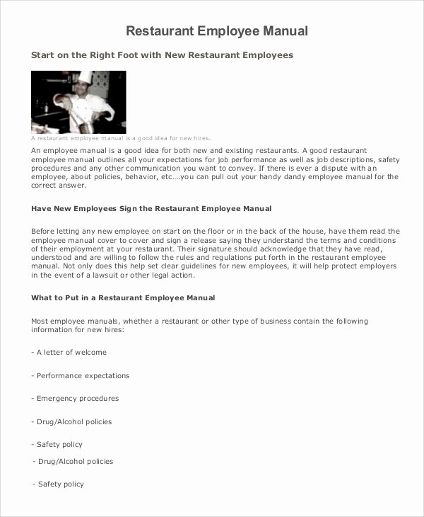 Restaurant Employee Handbook Template Elegant 8 Employee Manual Samples