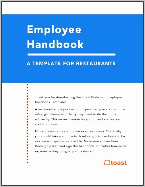 Restaurant Employee Handbook Template Elegant Restaurant Employee Handbook Template Free Download