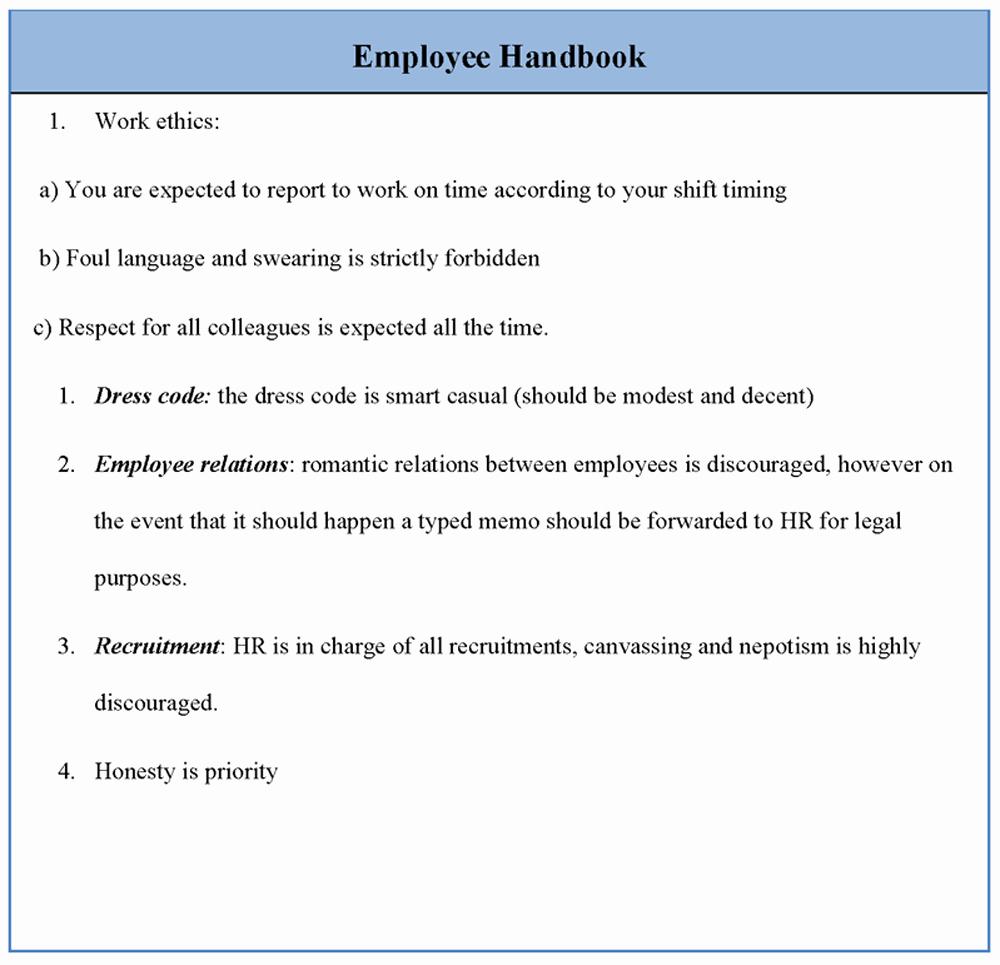 Restaurant Employee Handbook Template Free Best Of Employee Template for Handbook Sample Of Employee