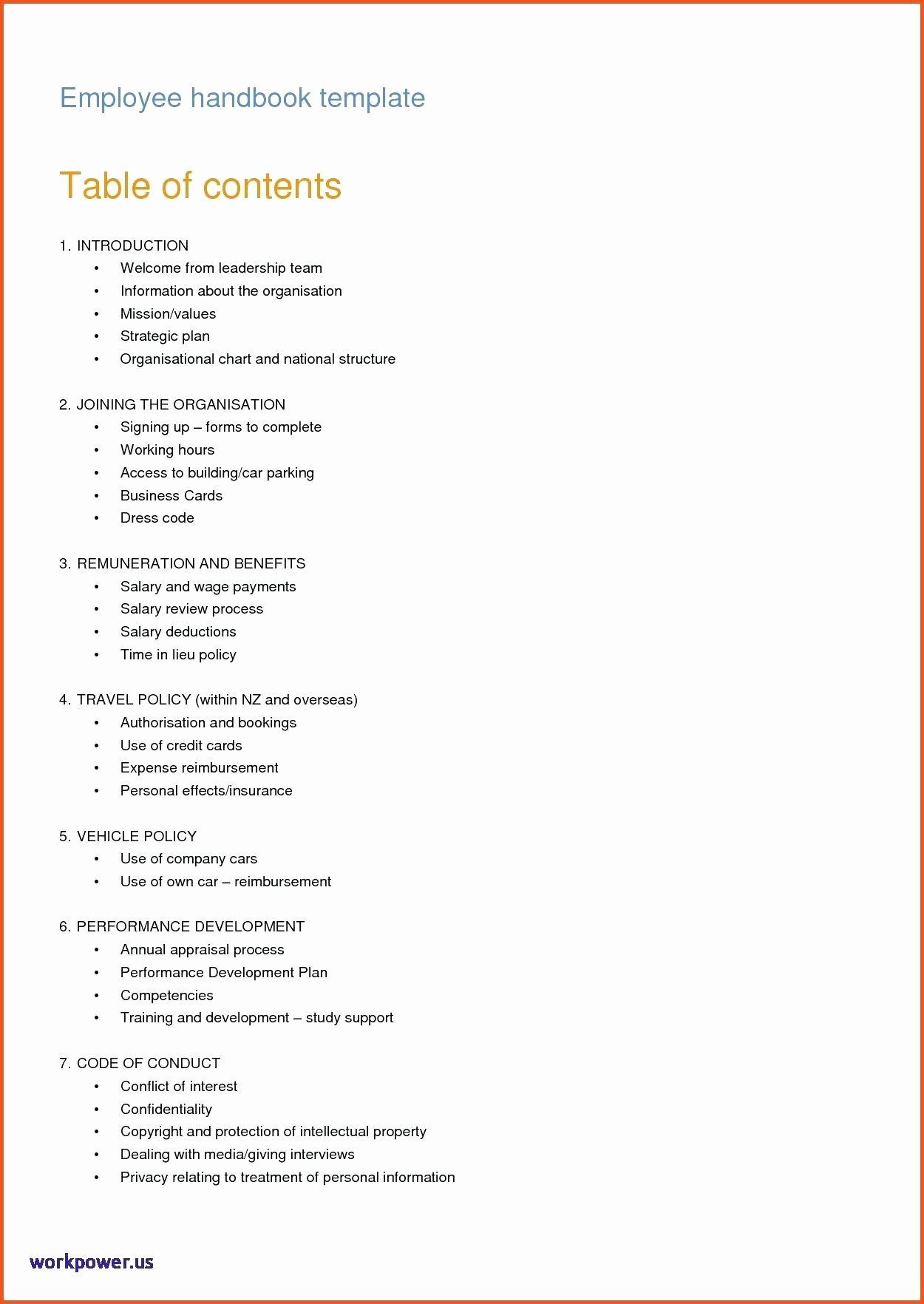 Restaurant Employee Handbook Template Free Best Of Template Employee Handbook Template Canada