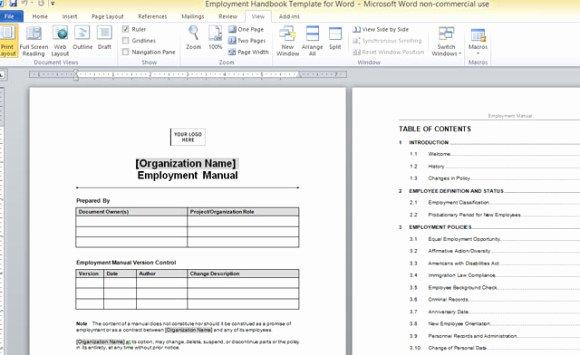 Restaurant Employee Handbook Template Free Elegant Employment Handbook Template for Word