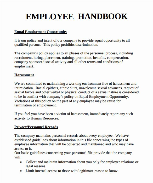 Restaurant Employee Handbook Template Free Inspirational Employee Handbook Sample 7 Download Documents In Pdf Word