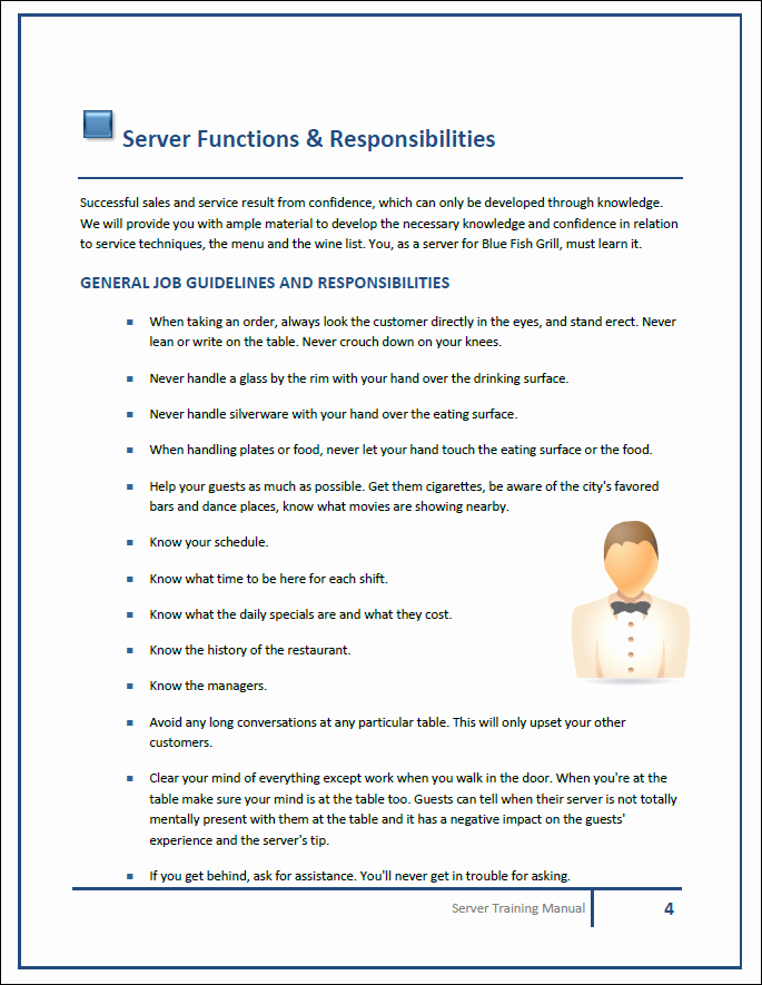 Restaurant Employee Handbook Template Lovely Restaurant Training Manual Templates