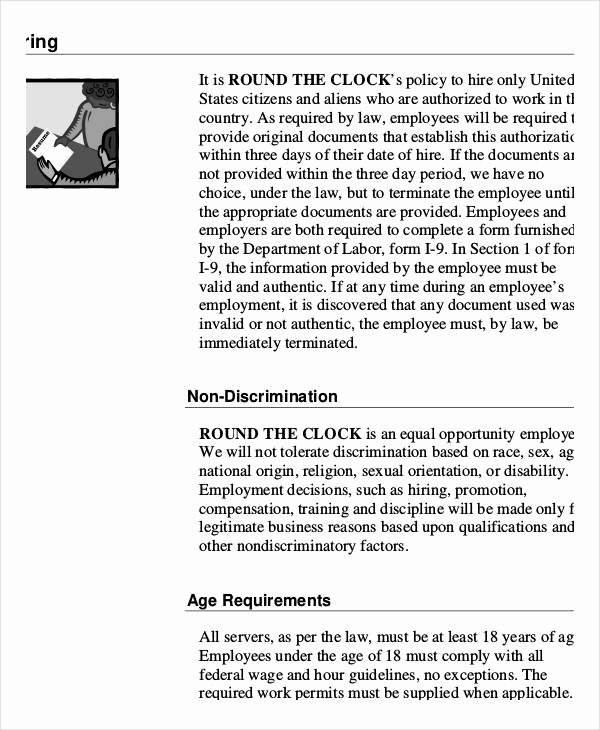 Restaurant Employee Handbook Template New Employee Handbook Sample 9 Free Pdf Documents Download