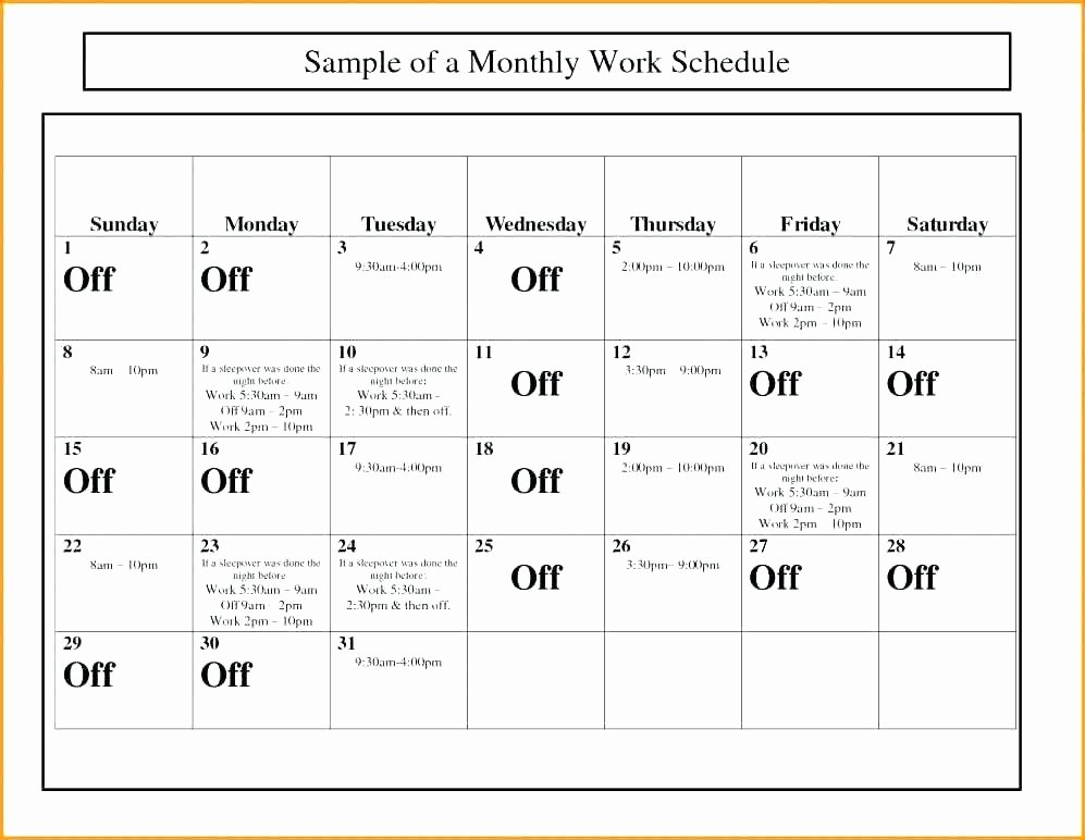 Restaurant Employee Schedule Template New Work Schedule Template – Onemonthnovelfo