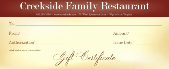 Restaurant Gift Certificate Template Beautiful 20 Restaurant Gift Certificate Templates – Free Sample