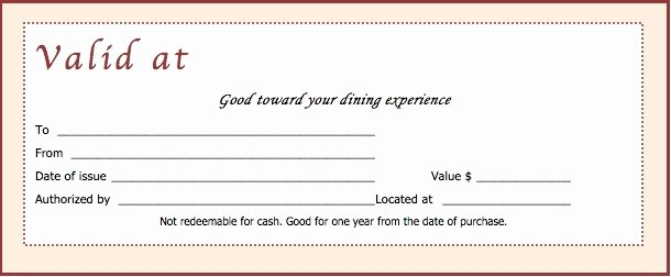 Restaurant Gift Certificate Template Beautiful Restaurant Gift Certificate Template Free Download