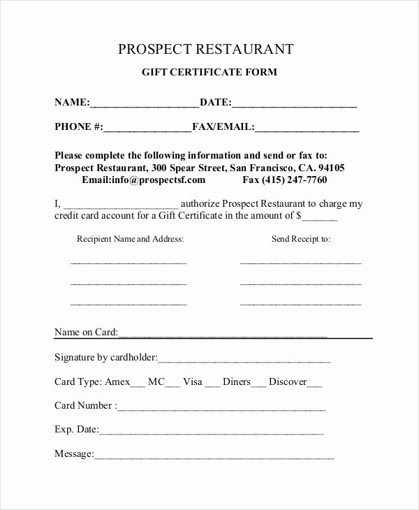 Restaurant Gift Certificate Template Best Of Gift Certificate Template 8 Free Word Pdf Document