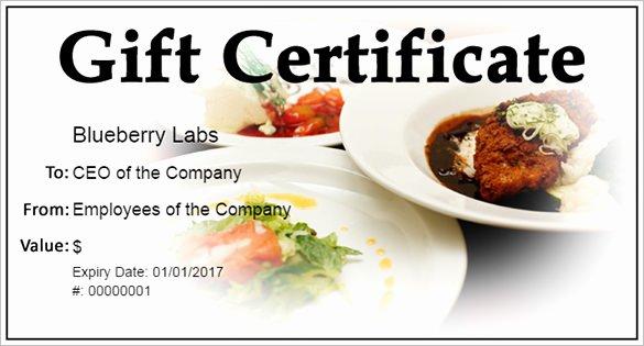 Restaurant Gift Certificate Template Elegant Gift Certificate Template – 34 Free Word Outlook Pdf