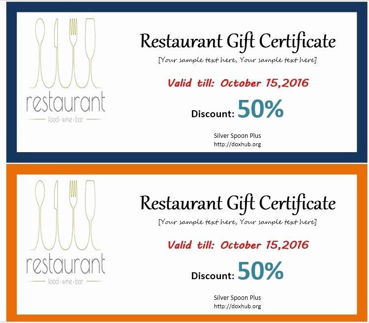Restaurant Gift Certificate Template Inspirational 13 Free Sample Restaurant Voucher Templates Printable