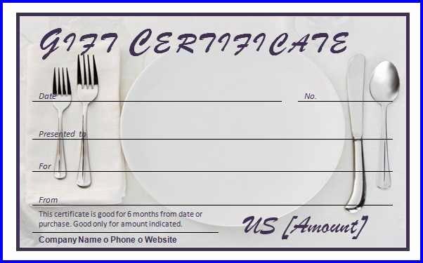 Restaurant Gift Certificate Template Inspirational Restaurant Gift Certificate Template Ms Word Templates