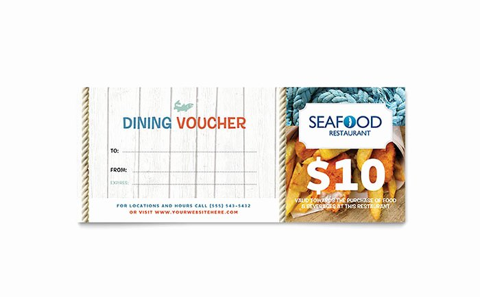 Restaurant Gift Certificate Template Inspirational Seafood Restaurant Gift Certificate Template Word