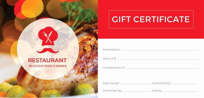 Restaurant Gift Certificate Template Lovely 20 Restaurant Gift Certificate Templates – Free Sample