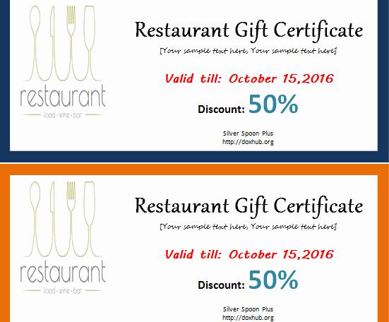 Restaurant Gift Certificate Template Lovely Restaurant T Certificate Template