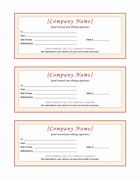 Restaurant Gift Certificate Template Luxury Food and Nutrition Fice