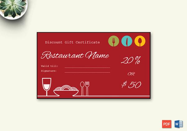 Restaurant Gift Certificate Template Luxury Restaurant Gift Certificate Template Word – Doc formats