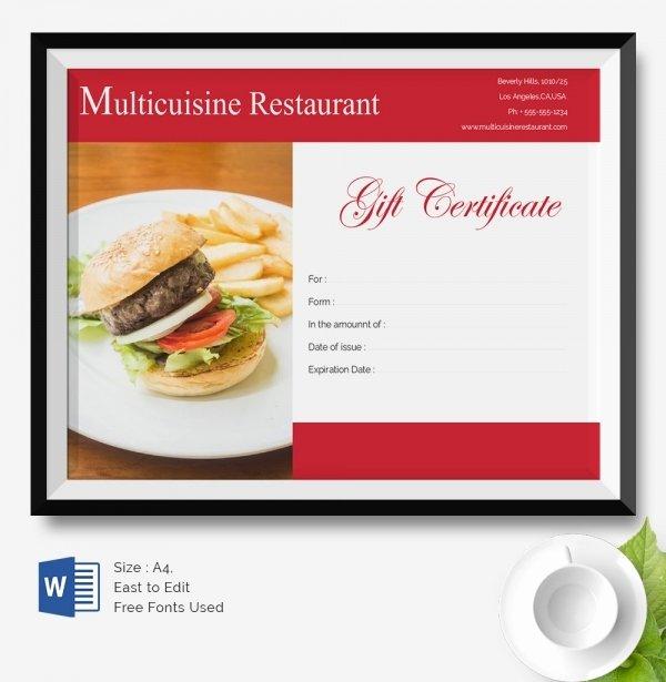 Restaurant Gift Certificate Template New 25 Certificate Templates