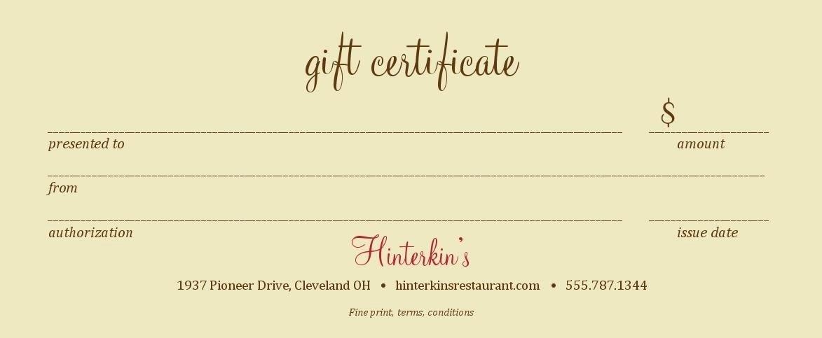 Restaurant Gift Certificate Template New Restaurant T Cards Online Printable Printable T