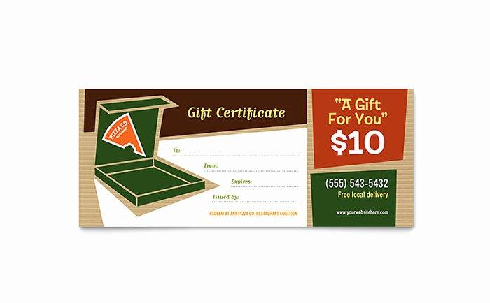 Restaurant Gift Certificate Template Unique Pizza Pizzeria Restaurant Gift Certificate Template Word