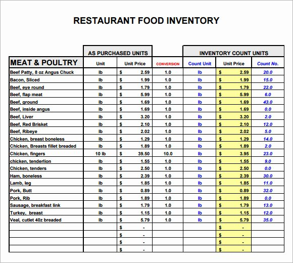 Restaurant Inventory Sheet Template Awesome 11 Restaurant Inventory Samples