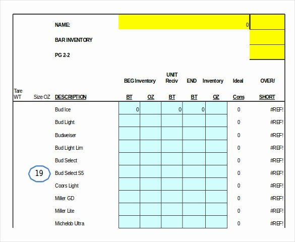 Restaurant Inventory Sheet Template Awesome Bar Inventory Template – 11 Free Word Excel Pdf