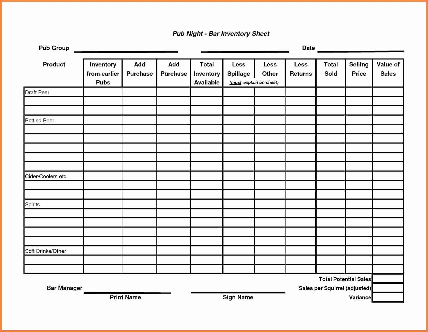 Restaurant Inventory Sheet Template Awesome Sample Inventory Sheet Bamboodownunder