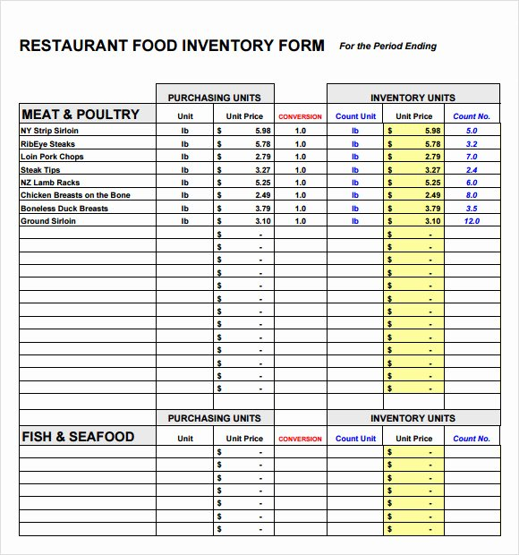 Restaurant Inventory Sheet Template Lovely 10 Food Inventory Samples