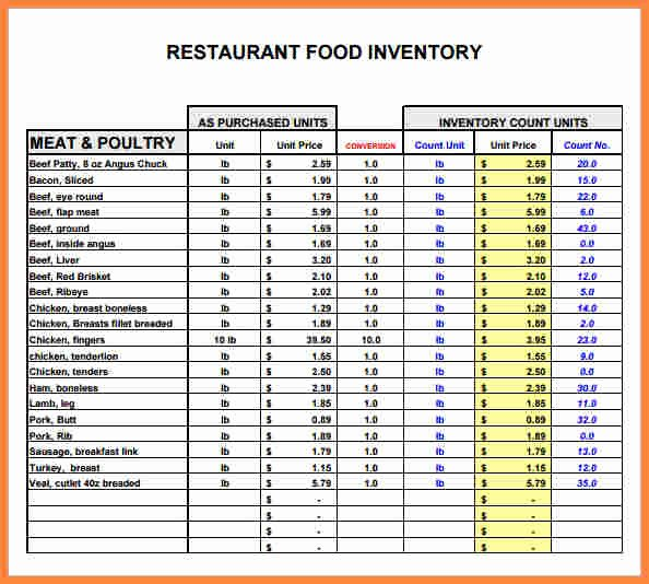 Restaurant Inventory Sheet Template Lovely 5 Restaurant Inventory Spreadsheet