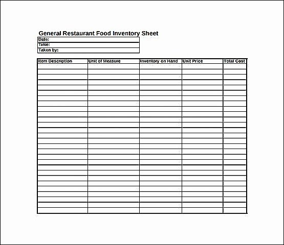 Restaurant Inventory Sheet Template Lovely Inventory Sheet for Restaurant