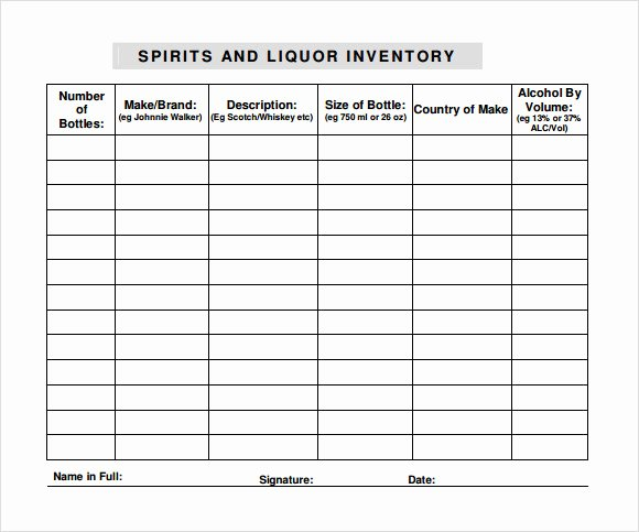 Restaurant Inventory Sheet Template Luxury Bar Inventory Spreadsheet