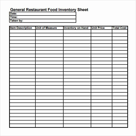 Restaurant Inventory Sheet Template Luxury Food Inventory Template 9 Download Free Document In Pdf