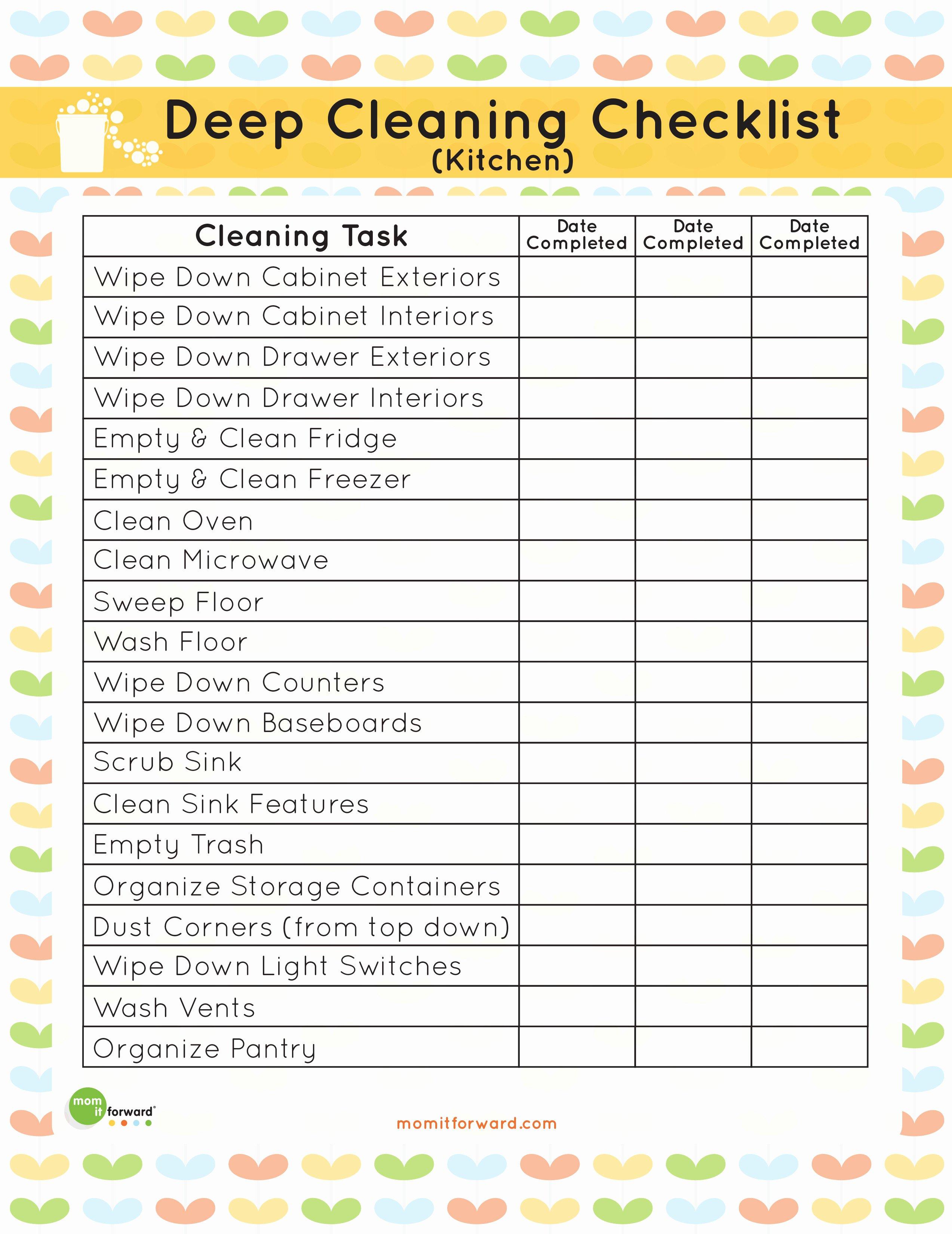 Restaurant Kitchen Cleaning Checklist Template Beautiful Printable Kitchen Cleaning Checklist Mom It forwardmom