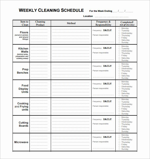 Restaurant Kitchen Cleaning Checklist Template Inspirational Restaurant Schedule Template – 9 Free Sample Example