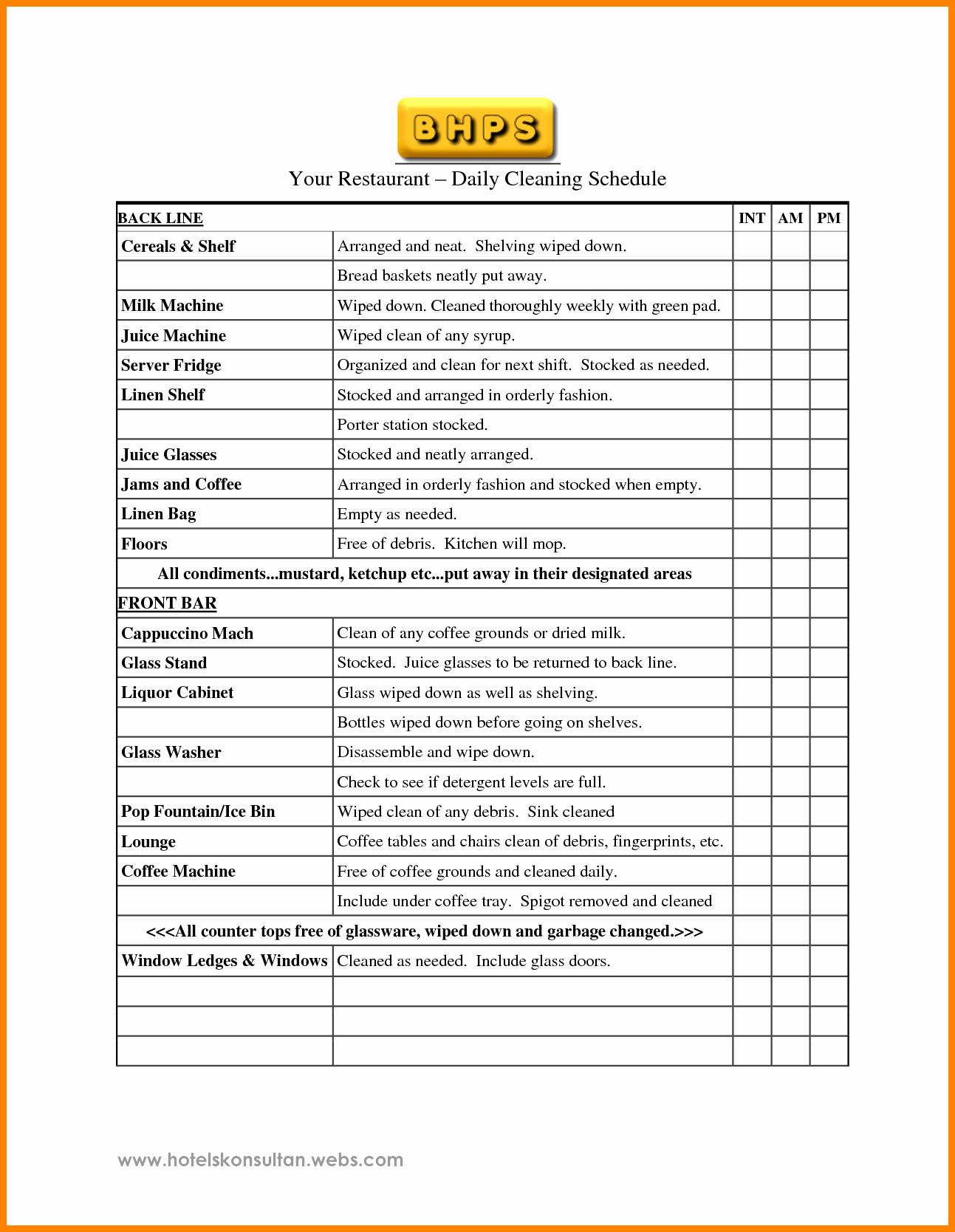 Restaurant Kitchen Cleaning Checklist Template Lovely 9 Restaurant Cleaning Checklist