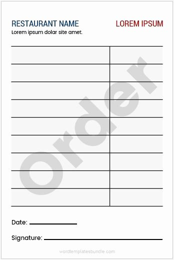 Restaurant order Pad Template Awesome Restaurant order Pad Templates for Ms Word