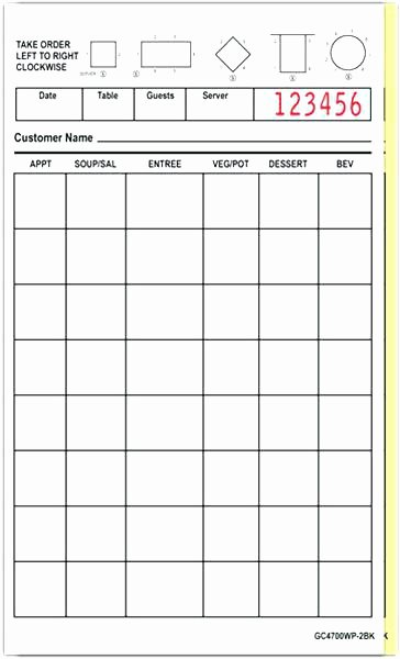 Restaurant order Pad Template Awesome Server order Pad Waitress order Pad Template – Ready2launch