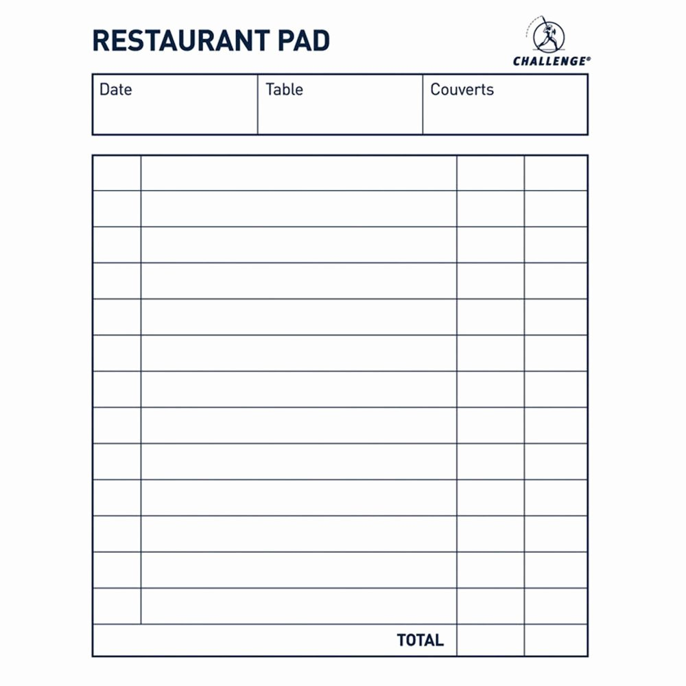 Restaurant order Pad Template Lovely Challenge 105x130mm Restaurant Pad Package 3 Each
