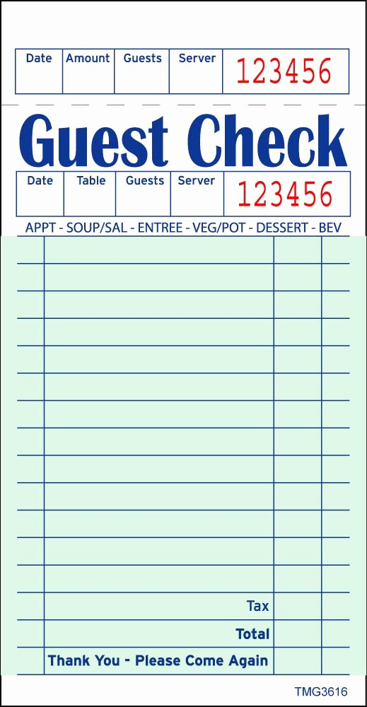 Restaurant order Pad Template New 6 Best Of Printable Guest Checks for Restaurants